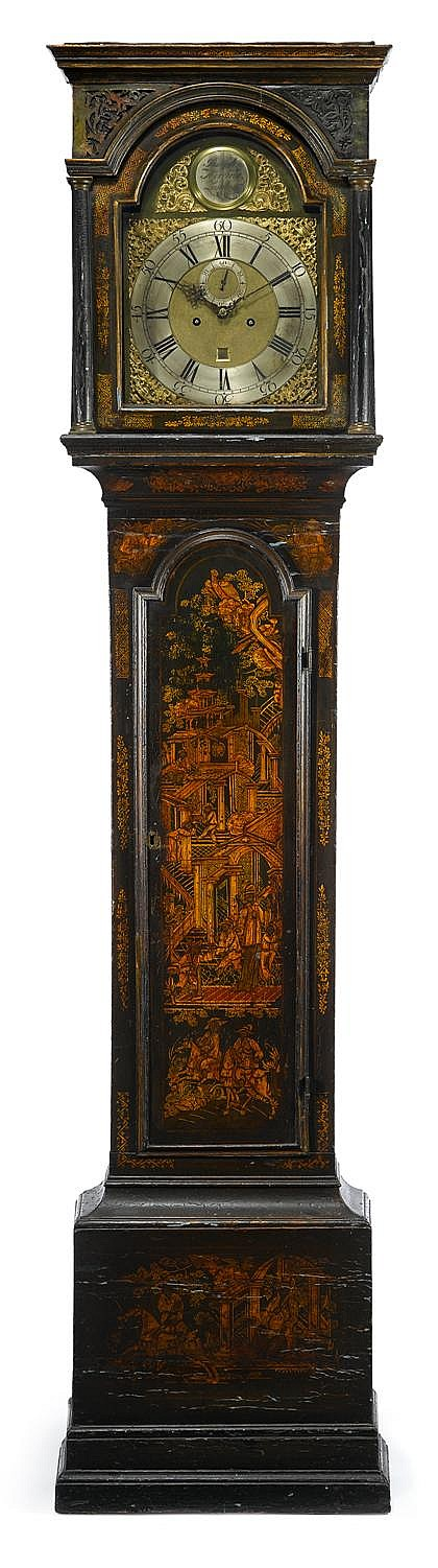 George III black lacquered tall case clock, london, joseph herring, second half 18th century, The brass face engraved