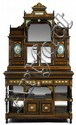 Large Napoleon III gilt metal and Sevres style porcelain mounted, burl walnut, ebonised and inlaid secretaire cabinet, 19th century, In