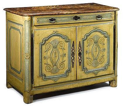 Louis XIV provincial cream painted chestnut buffet, early 18th century, probably breton, The simulated marble top with rounded fore-cor