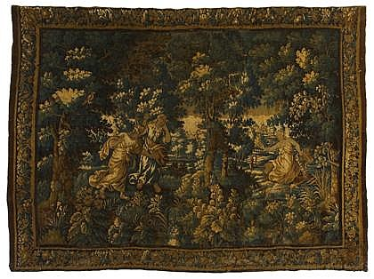Brussells verdue tapestry depicting the Rape of Europa, 17th century, Depicting Europa upon the back of Zeus as the bull, her arm outst