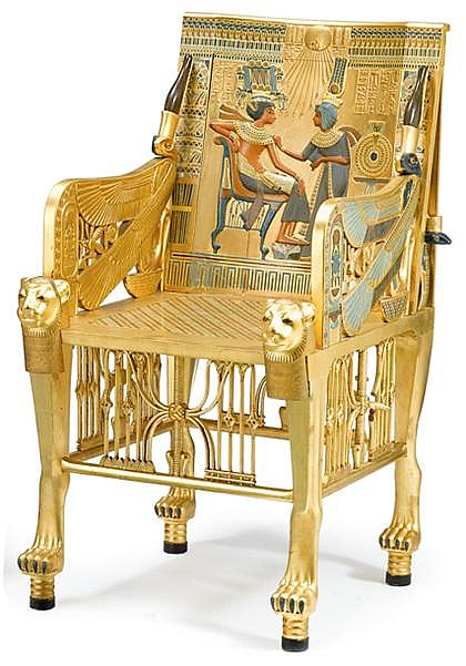 Fine Egyptian revival stone inlaid and polychrome decorated giltwood replica of King Tutankhamen's throne chair, circa 1928, The squar