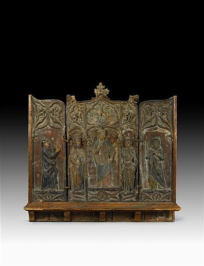 Large Continental polychrome painted terracotta triptych altarpiece, possibly low countries, 19th century or earlier, In three panels,