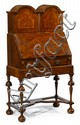 English seaweed marquetry burlwood and walnut writing desk on stand, circa 1700 and later, the marquetry in the style of gerrit jensen,