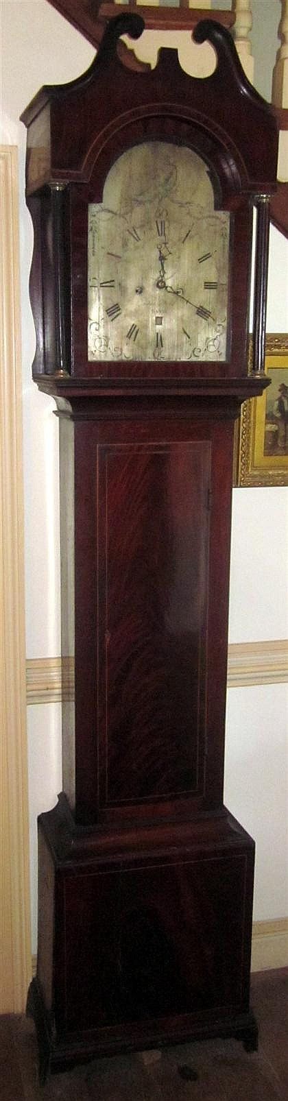 George III mahogany tall case clock, thomas field, bath, late 18th century, The steel face engraved