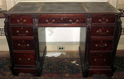 Fine George III style mahogany twin pedestal desk, early 20th century, The rectangular top with inset leather writing surface above lon