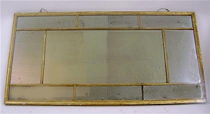 George III giltwood overmantel mirror, late 18th century, Rectangular, within beaded frame enclosing smaller mirrored plates surroundin