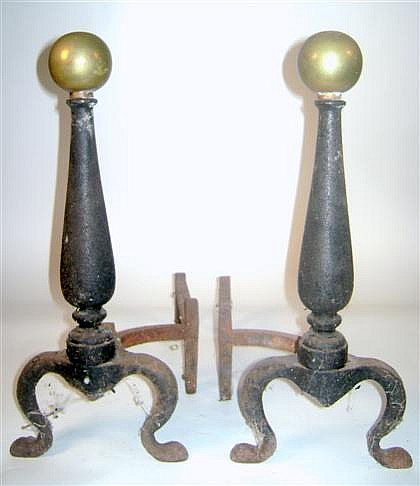 Pair of brass and iron andirons, 19th century, The globular finial over baluster standard, raised on cabriole legs; together with a Vic