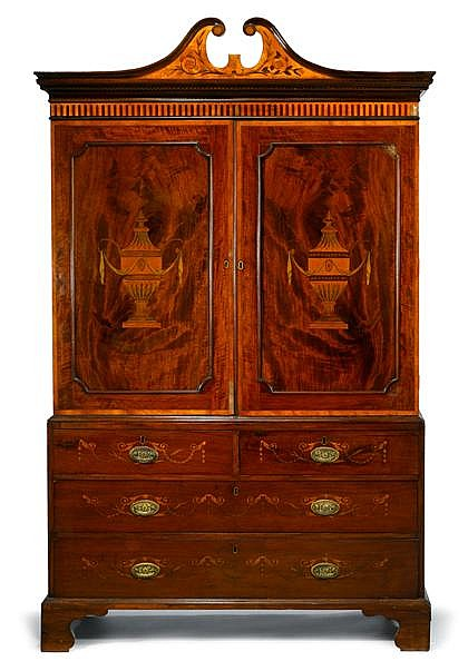 George III mahogany marquetry inlaid linen press, late 18th century, In two sections, the upper section with swan neck pediment over tw