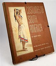 1 portfolio. (Costume.) Halouze, Edouard. Costumes of South America. New York: French & European Pub, 1941.  Folio, o...