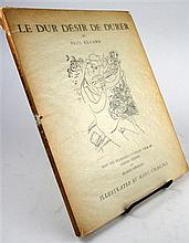 1 vol (wrappers). (Chagall, Marc, illus.) Eluard, Paul. Le Dur Desir de Durer. Philadelphia: Grey Falcon Press, [1950].R...