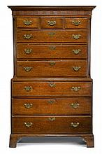 George II oak chest on chest, 18th century,