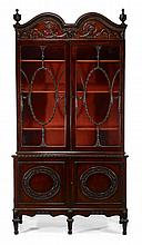 Fine George III style mahogany bookcase cabinet, late 19th century,