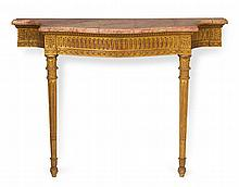 George III style marble top giltwood console, 19th century and later,
