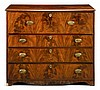 Late George III mahogany inlaid secretaire chest, circa 1800,