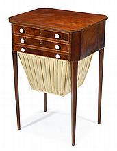 George III mahogany and satinwood inlaid work table, circa 1800,