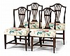 Set of four George III Sheraton style mahogany side chairs, late 18th century,