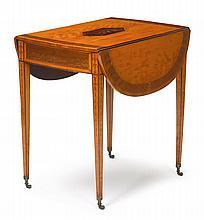 George III inlaid satinwood pembroke table, circa 1800,