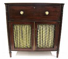 Regency mahogany and brass secretaire cabinet, 19th century,