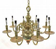 Georgian style brass chandelier, 20th century,