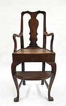 Queen Anne walnut child's chair, early 18th century,