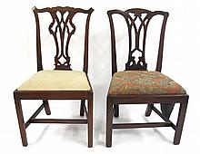 Two George III style mahogany side chairs, ,