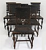 Set of six baroque style side chairs, late 19th century, Two sets of three.