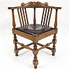 George III style oak roundabout chair, 20th century,