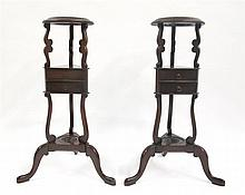 Near pair of George III style mahogany wig stands, early 20th century,