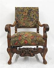 Walnut baroque style tapestry upholstered armchair, 19th century,