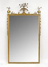 George III style gilt framed mirror with floral spray, early 20th century,