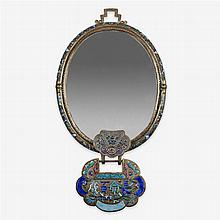 A Chinese enamelled paktong mirror, republic period
