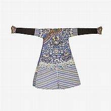 A Chinese blue silk brocade 'dragon' robe, Jifu, late qing dynasty