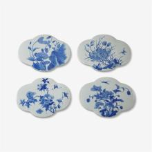A group of four blue and white plaques, qing dynasty
