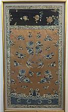 Two Chinese framed textile panels, qing dynasty
