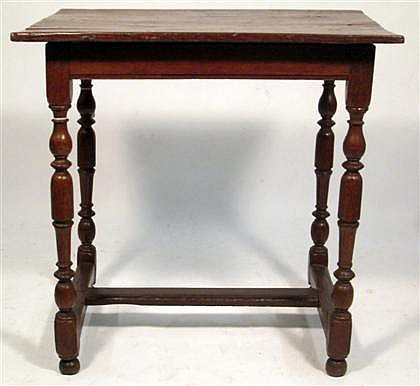 William and Mary style oak side table, , The rectangular top over plain frieze, raised on turned legs united by H-stretcher.