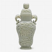 A large Chinese celadon jade vase and cover, modern