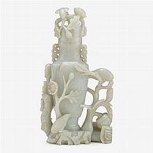 A Chinese celadon jade covered vase, 19th century