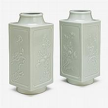 A pair of Chinese celadon glazed Cong vessels, impressed qianlong seal mark, 19th century