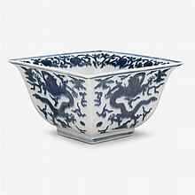 A Chinese blue and white square form porcelain bowl, wanli six character mark, 17th century