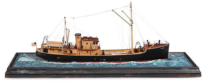 Painted wooden model of the fishing trawler Beth of Boston, 20th century, Fully fitted boat set in a resin sea.