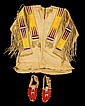 Sioux men's quill-worked hide shirt and quill-worked moccasins, hanna levens, fort yates area, 1942, Shirt with bands of yellow and pu