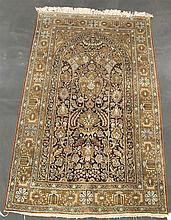 Silk Qum prayer rug, circa mid 20th century,