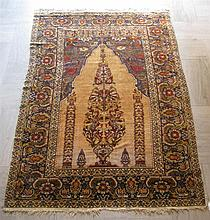 Silk Hereke prayer rug, west anatolia, circa mid 20th century,