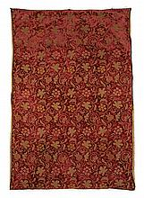 Eleven pieces European textile panels and fragments, 18th-early 20th century, Comprising an embroidered red silk flowered panel, six sm