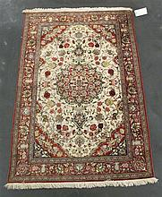 Silk Qum rug, central persia, circa 2nd half 20th century,