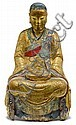 Chinese painted and giltwood seated Lamaist figure, 17th century, The polychrome lama figure seated in cross-legged meditative position