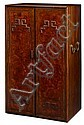 Unusual Chinese hardwood and burl wood snuff bottle cabinet, late qing dynasty, The tall rectangular case fitted with inlaid and burlwo