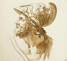 ITALIAN SCHOOL, (LATE 18TH EARLY 19TH CENTURY), BUST OF A ROMAN SOLDIER IN PROFILE