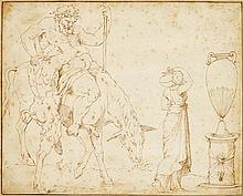 GIROLAMO DA CARPI, (ITALIAN 1501-1556), SHEET OF STUDIES: DRUNKEN SILENUS, WOMAN WITH VASE, URN