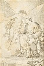 ITALIAN SCHOOL, (18TH CENTURY), SEATED SAINT WITH ANGEL